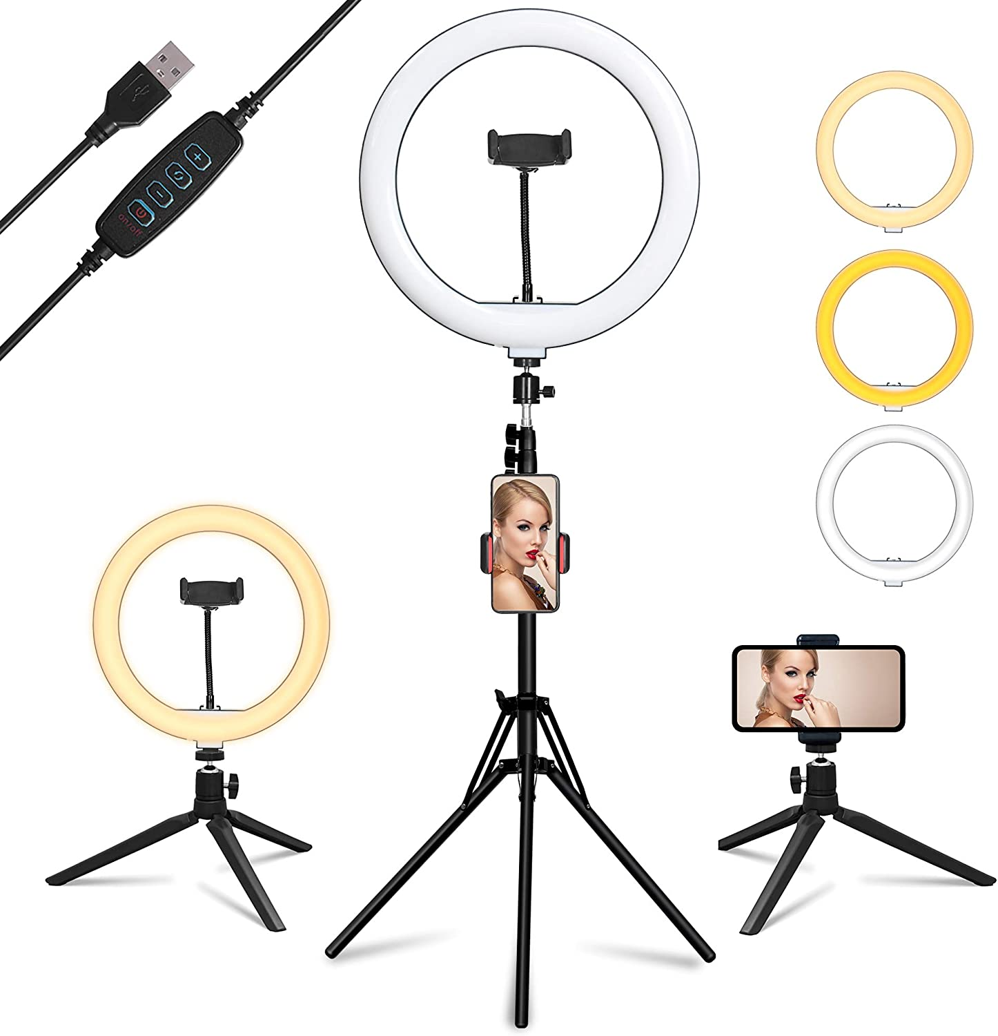 """Ring Light with Mirror, Summifit 12"""" Circle LED Light, Bluetooth Halo Lighting with 2 Tripod Stand, 3 Phone Holder for YouTube, TikTok, Live Streaming, Makeup, Selfie, iPhone Android"""