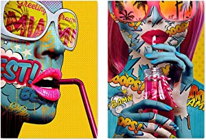 VIAYA 2 Pcs Graffiti Street Wall Art Canvas Portrait Photography Hawaiian Style Wall Art Poster Modern Art Decor Painting for Home Decorations(Unframed,16x20 inches)