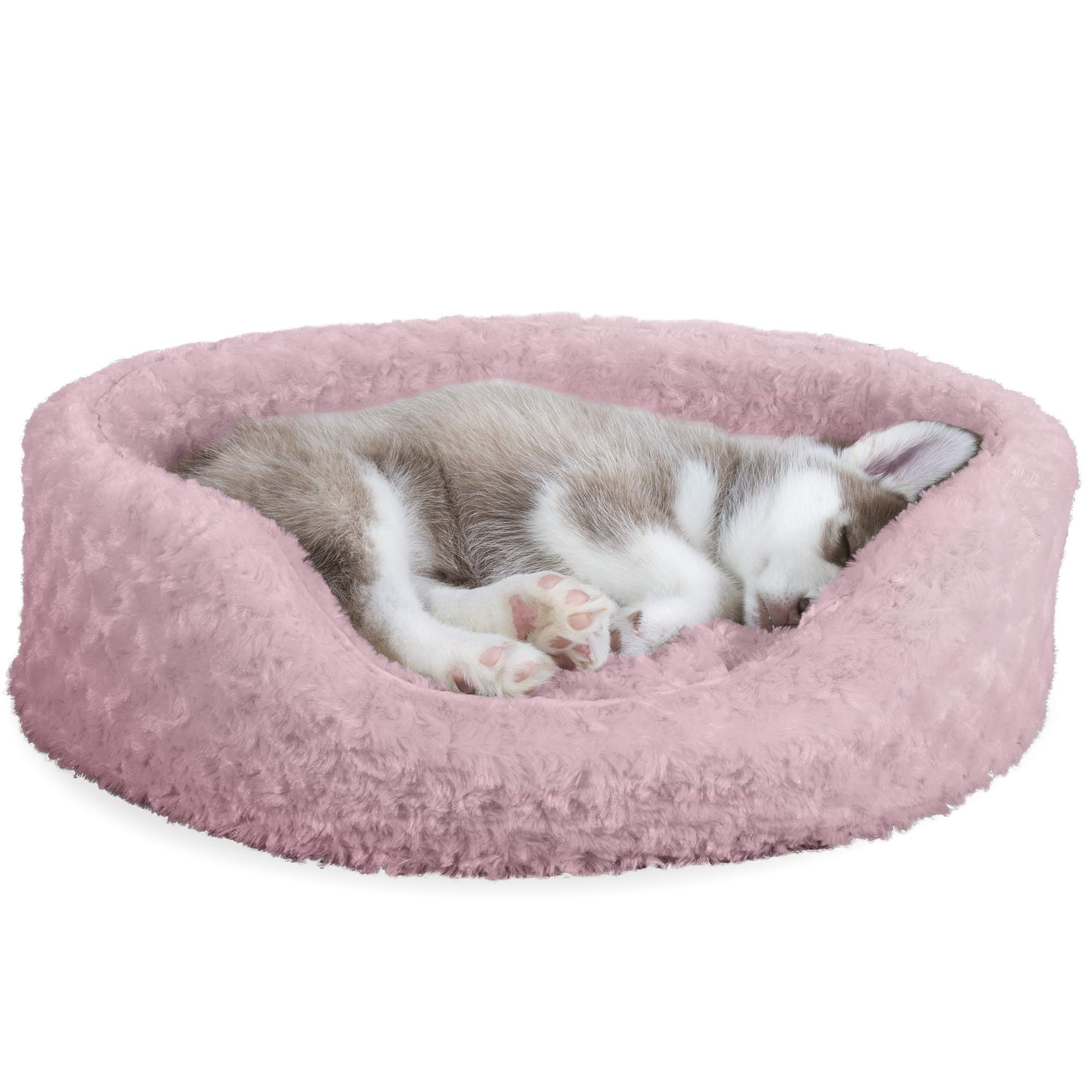 Furhaven Pet Dog Bed   Round Oval Cuddler Ultra Plush Faux Fur Nest Lounger Pet Bed for Dogs & Cats, Pink, Medium
