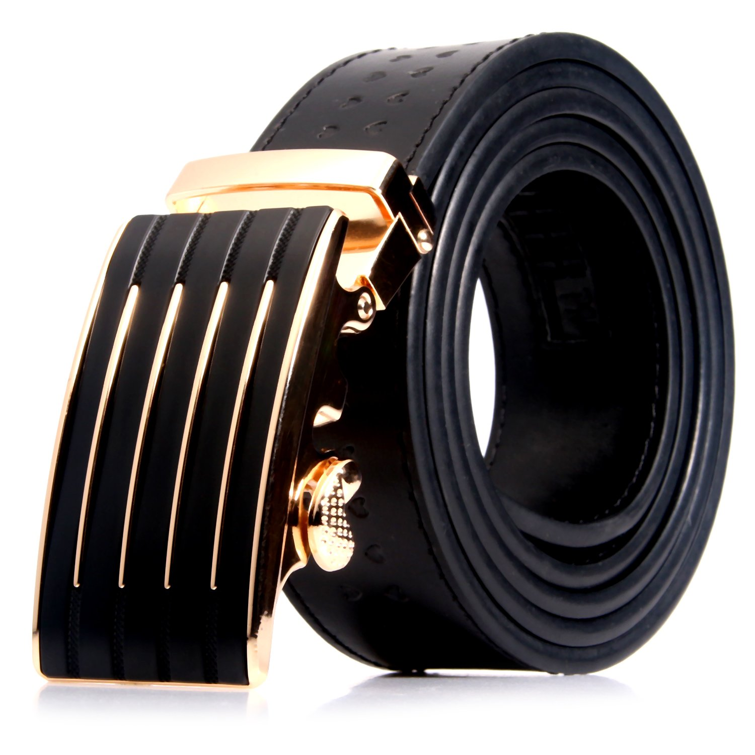 Men's Genuine Leather Belt with Automatic Buckle, Black/Brown, 35mm wide 1 3/8 inch-Great Gift Idea (Black embossed heart-style 4)