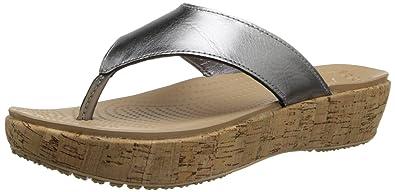 1955668f46ecf1 crocs Womens Women s A-Leigh Metallic Leather Flip Flop