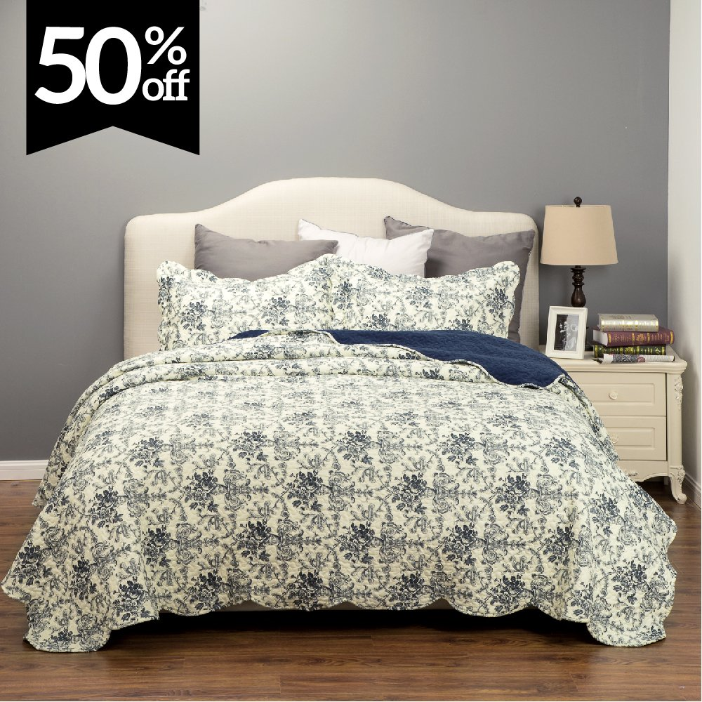 3 Piece Quilt Set- Blue Bedspread Backed with Coral Fleece