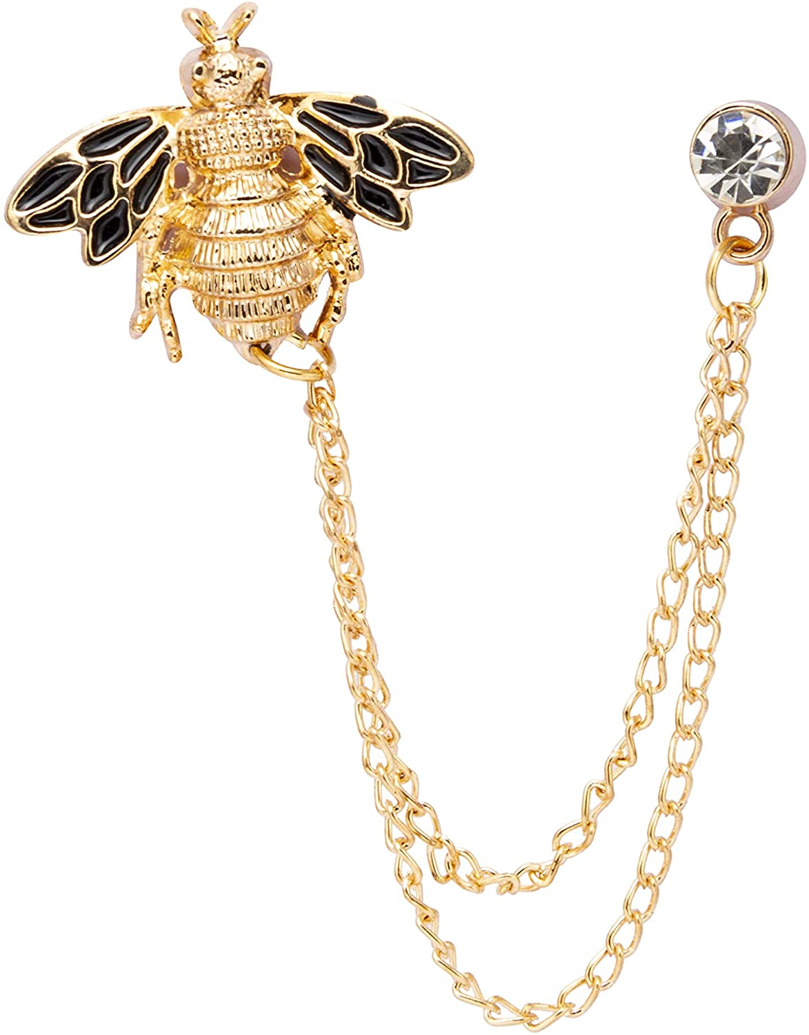Knighthood Men's Bee With Hanging Chain Brooch Lapel Pin (Golden & Black)
