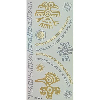 Tatouages bijoux de la chaîne et en carton imperméable Spestyle oiseaux et le soleil d'argent et d'or glitter tatouage temporaire autocollants