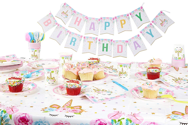 GONGYIHONG Unicorn Birthday Party Supplies Set, Serves 16, Colorful 10