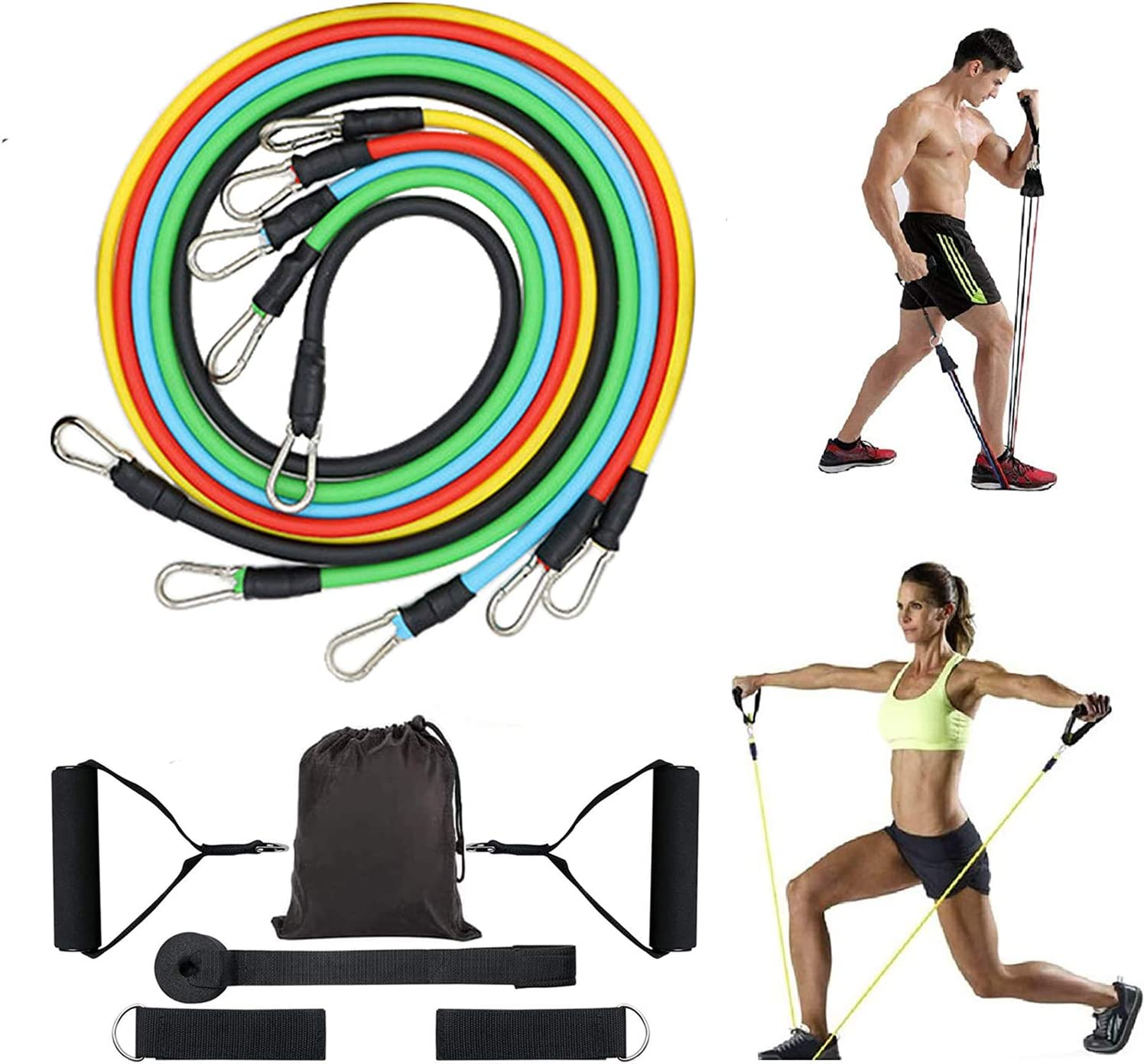 Home Workouts,Physical Therapy,Gym Training,Yoga Resistance Bands Set,Including 5 Stackable Exercise Bands with Door Anchor,2 Foam Handle,2 Metal Foot Ring /& Carrying Case