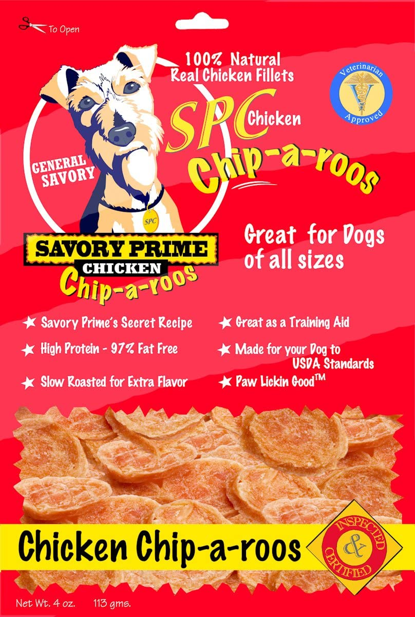 Savory Prime Chicken Chip-A-Roos Jerky Treat, 4-Ounce