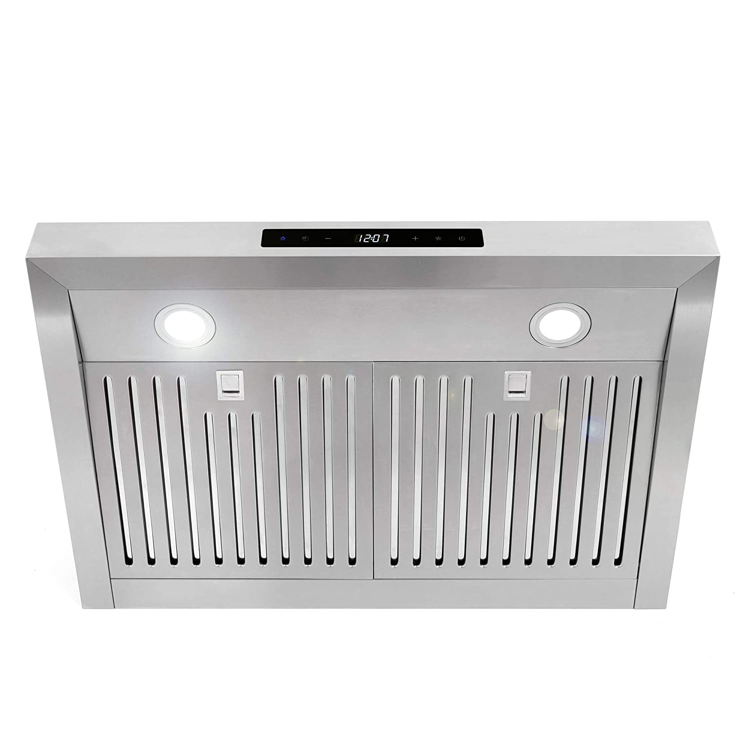 Cosmo UMC30 30-in Under-Cabinet Range Hood 760 CFM Ductless Convertible Duct Stainless Steel Fan Timer LED Light Kitchen Stove Vent Permanent Filter, 3 Speed Exhaust