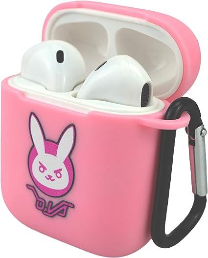 Amazon Com Pink D Va Airpods Case Cute Bunny Protective Pu