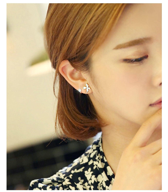 Gnzoe 925 Sterling Silver Full Cubic Zirconia Ear Crawlers Cubic Zirconia Cuff Pin Earrings 1 Pair
