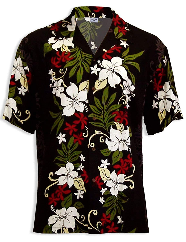 Hawaiian Shirt White Hibiscus Garden Tropics Soft Rayon