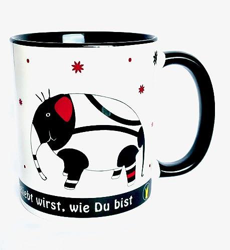 Fr/ühst/ück mit Elefanten Gl/ückstasse Tassen mit Spr/üchen bunte Kaffeebecher lustig Elefanten-Tasse UKo-Art/® versandfertig elefantastisch