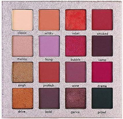 16 Color de la gama de colores del reflejo de brillo nacarado Lustre de sombras para ojos paleta de maquillaje para las niñas Matt Mujeres: Amazon.es: Belleza