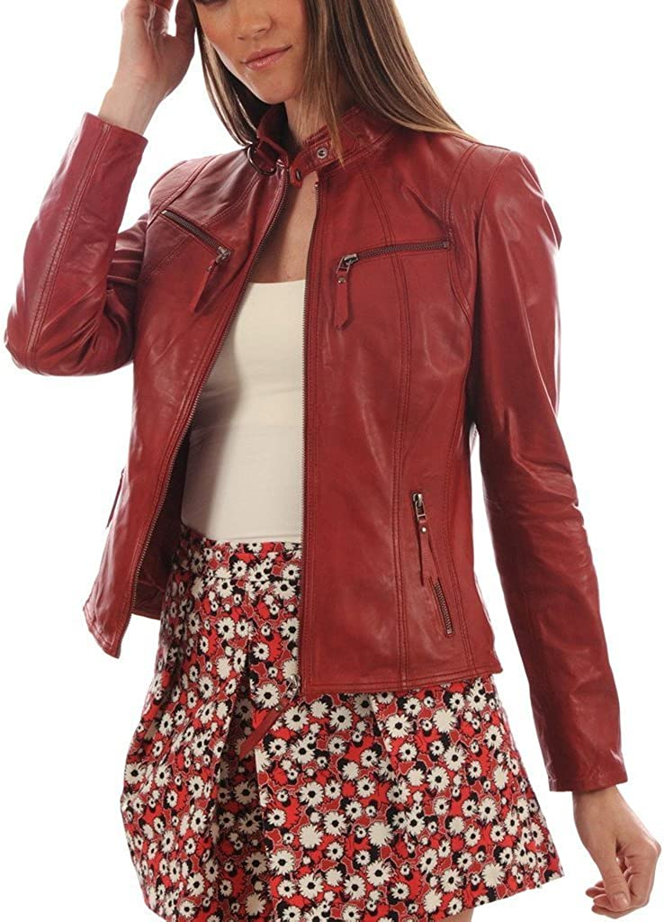New Womens Motorcycle Genuine Sheep Leather Party Jacket LFW297