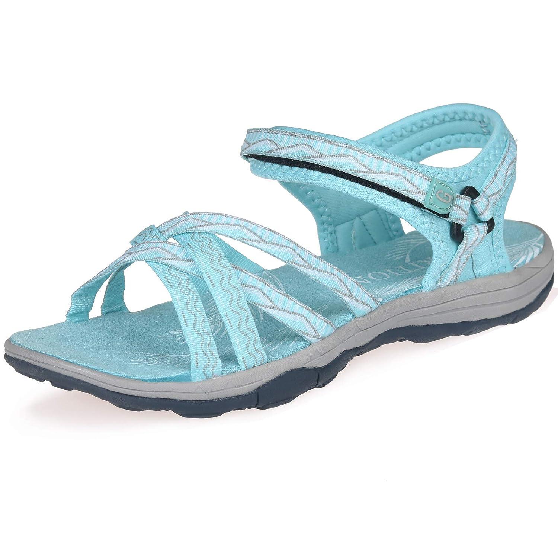GRITION Frauen Wandern Sandalen, Damen Outdoor Sport Wasser Schuhe Sommer Flach Cross Tied Beach Sandalen Open Toe Verstellbare Klettverschluss