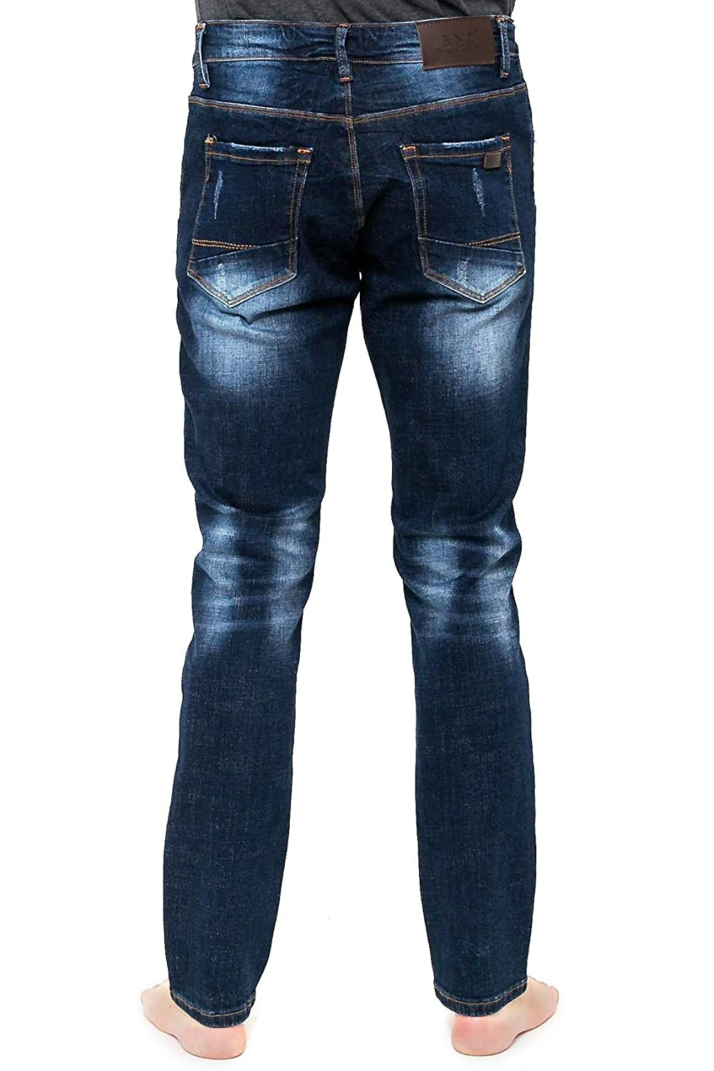 Dark Blue RNZ PREMIUM Mens Slim Straight Fit Jean w Faded Look and Whiskering R734