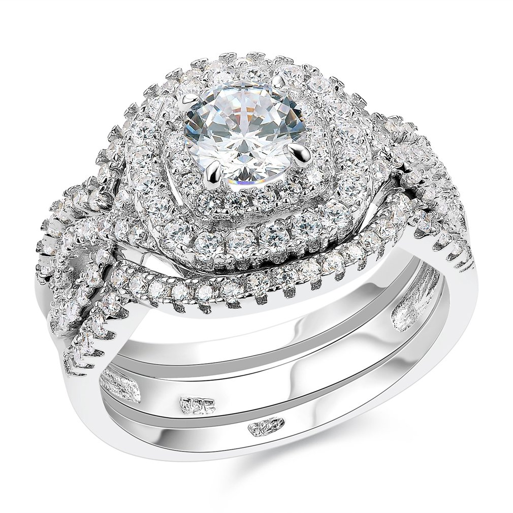 Newshe Engagement Wedding Ring Set For Women 925 Sterling Silver 3pcs 2CT White AAA Cz Size 5