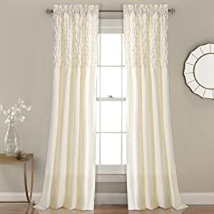 """Lush Decor Bayview Curtains Pintuck Textured Semi Sheer Window Panel Drapes Set for Living, Dining, Bedroom (Pair), 84"""" x 52"""", Ivory"""