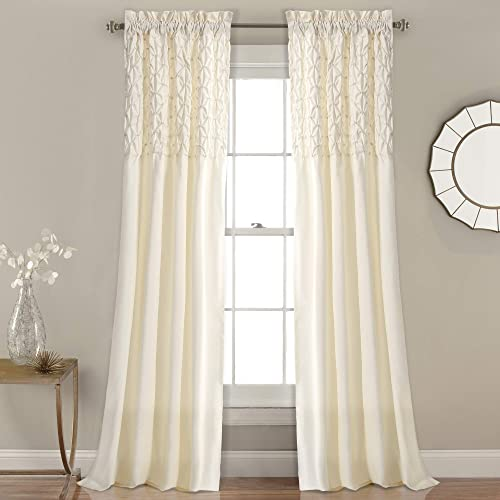 Lush Decor Bayview Curtains Pintuck Textured Semi Sheer Window Panel Drapes Set