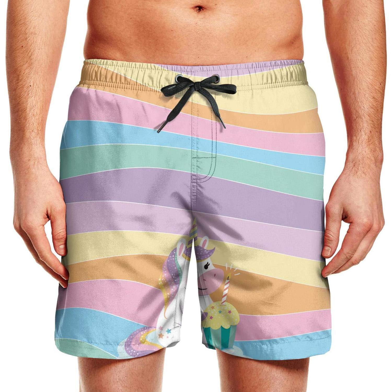 Rainbow Mens Board Shorts Swim Mesh Lining and Side Pocket