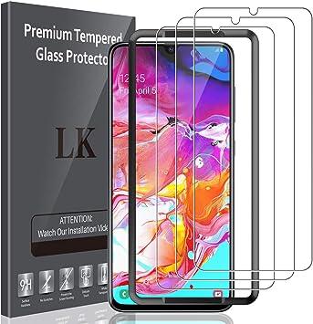 Imagen deLK Protector de Pantalla para Samsung Galaxy A70 Cristal Templado, [3 Paquetes] [9H Dureza] [Equipado con Marco de posicionamiento] Vidrio Templado Protector Pantalla para Samsung Galaxy A70