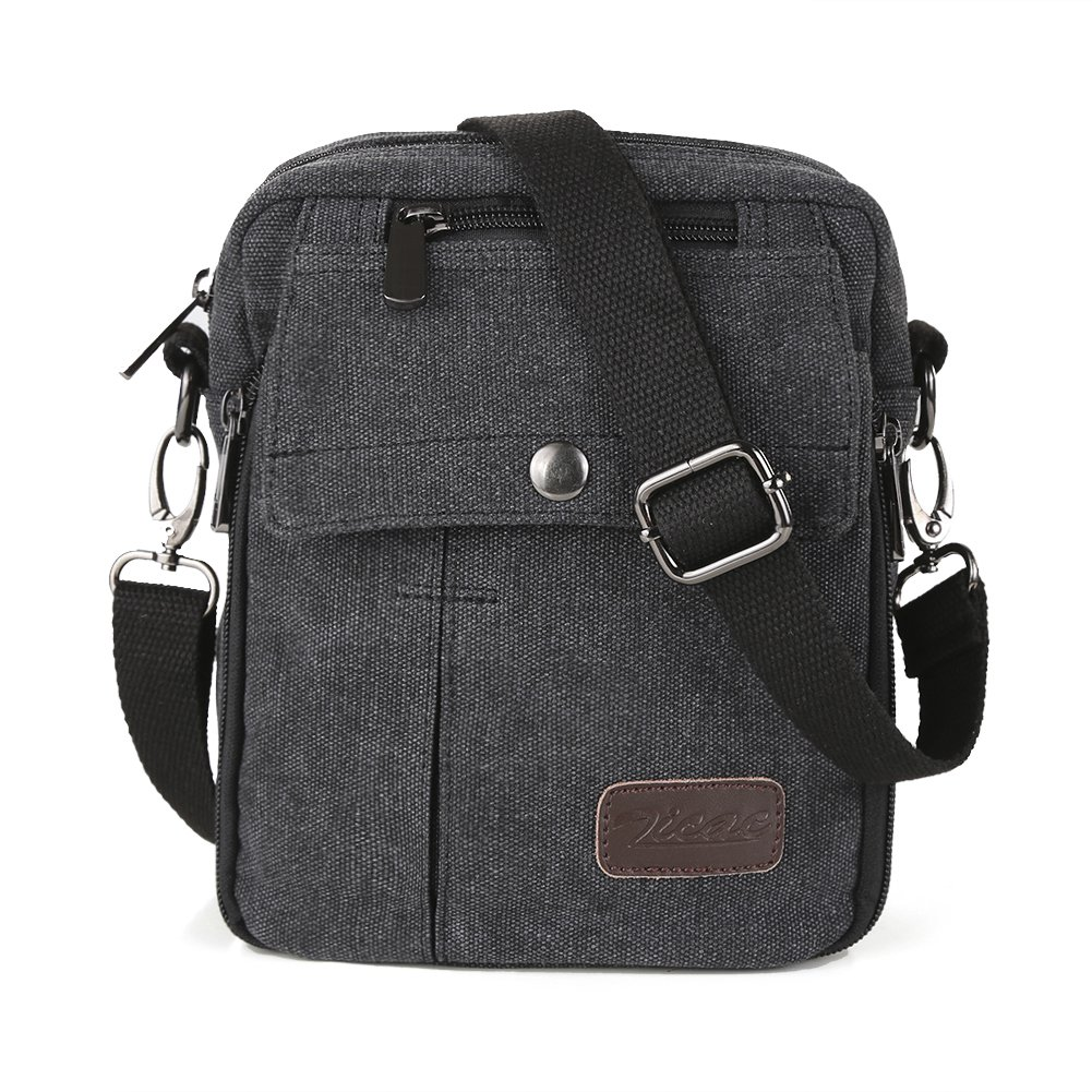Zicac Men's Small Vintage Multipurpose Canvas Shoulder Bag Messenger Bag Purse (Black)