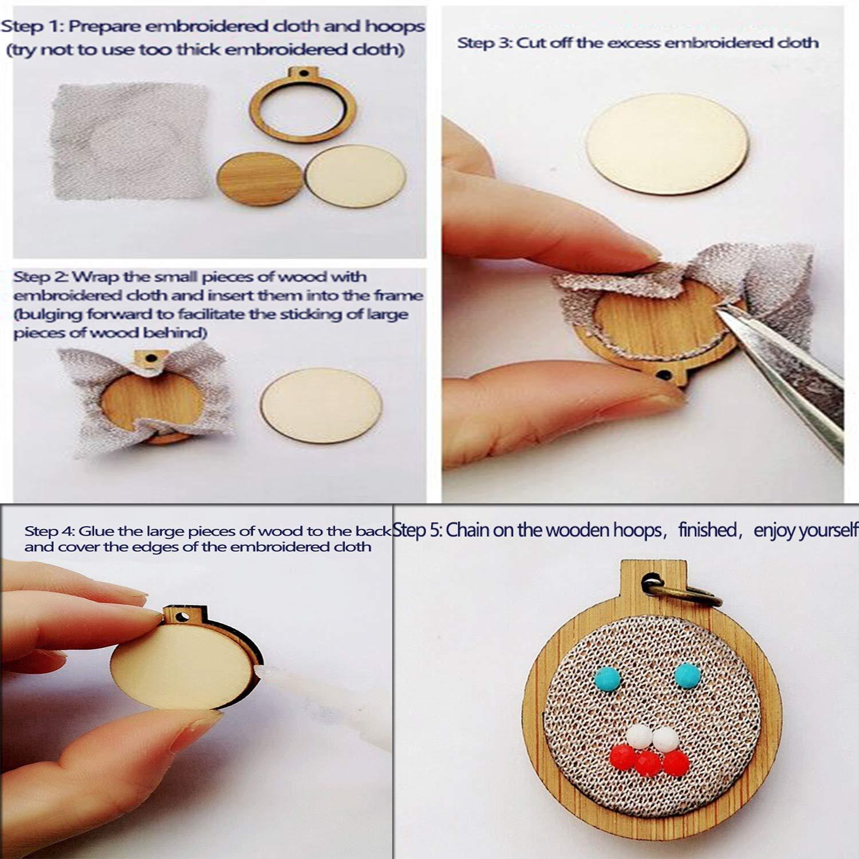 Tofover Kleiner Ring Stickrahmen Mini Wooden Cross Stitch Hoop Mini Round Oval Wood Hoops f/ür Rahmen Craft und h/ängende 10Pcs Set mit Ketten
