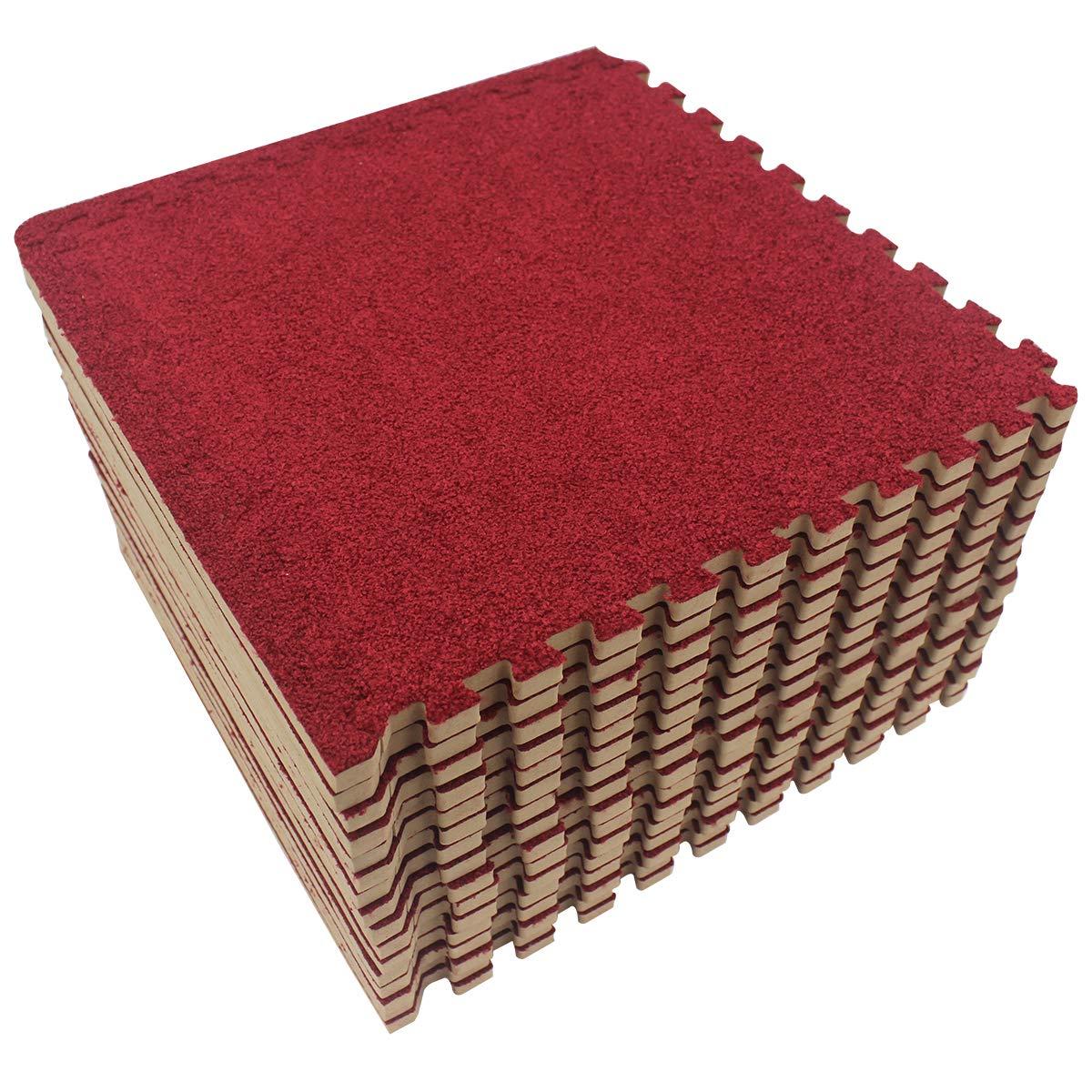 LaFamille Interlocking Foam Floor Mat 16 Tiles 16 sq.ft Puzzle Carpet Flooring Exercise Square Mats Gym,Playroom Floor Mats for Carpet 1'x1' (Burgundy)