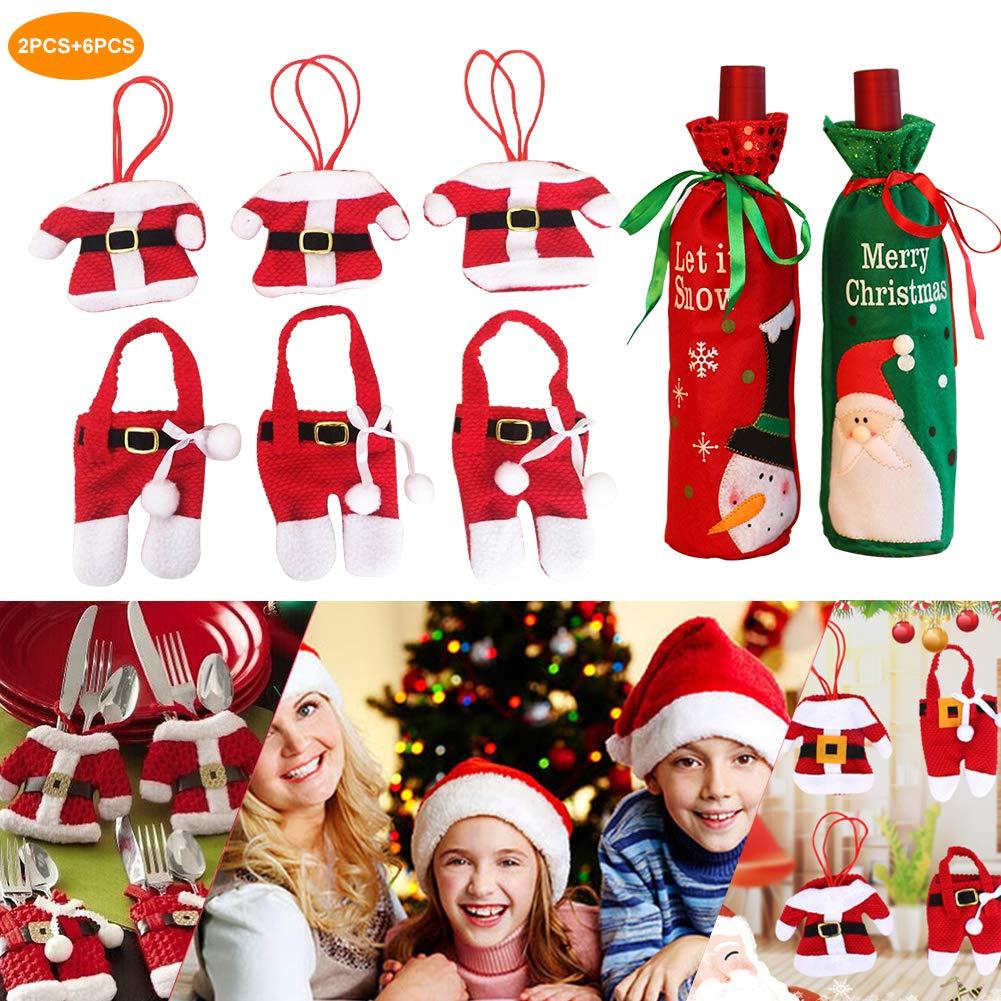 Leerroa Besteckhalter Weihnachten,Weihnachten Besteckhalter Bestecktasche, 6PCS Weihnachten Besteckhalter mit 2 PCS Weihnaten Bottlebag Wein Flasche Tasche Beutel Weihnachts Geschenk Verpackung