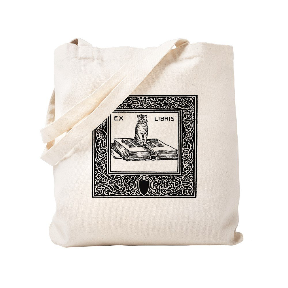 CafePress - Ex Libris Cat And Book - Natural Canvas Tote Bag, Cloth Shopping Bag