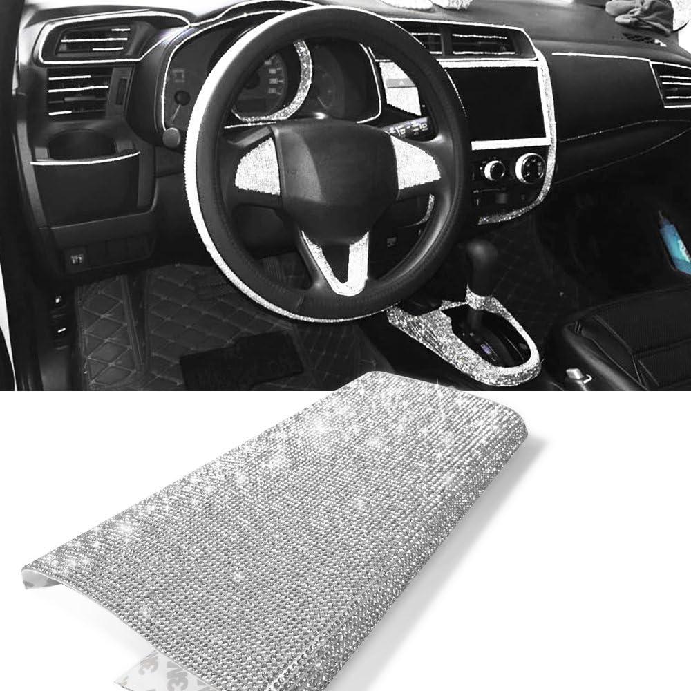 YGMONER 9000pcs Bling Crystal Rhinestone 9.4 x 7.9'' DIY Car Decoration Sticker (Sliver)