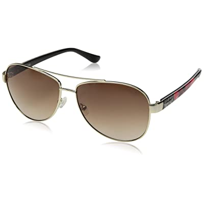 Guess - ALLIE GU7384, Aviator, metal, mujer, PALLADIUM COLORED FANTASY/BROWN SHADED(32F), 60/14/135: Ropa y accesorios