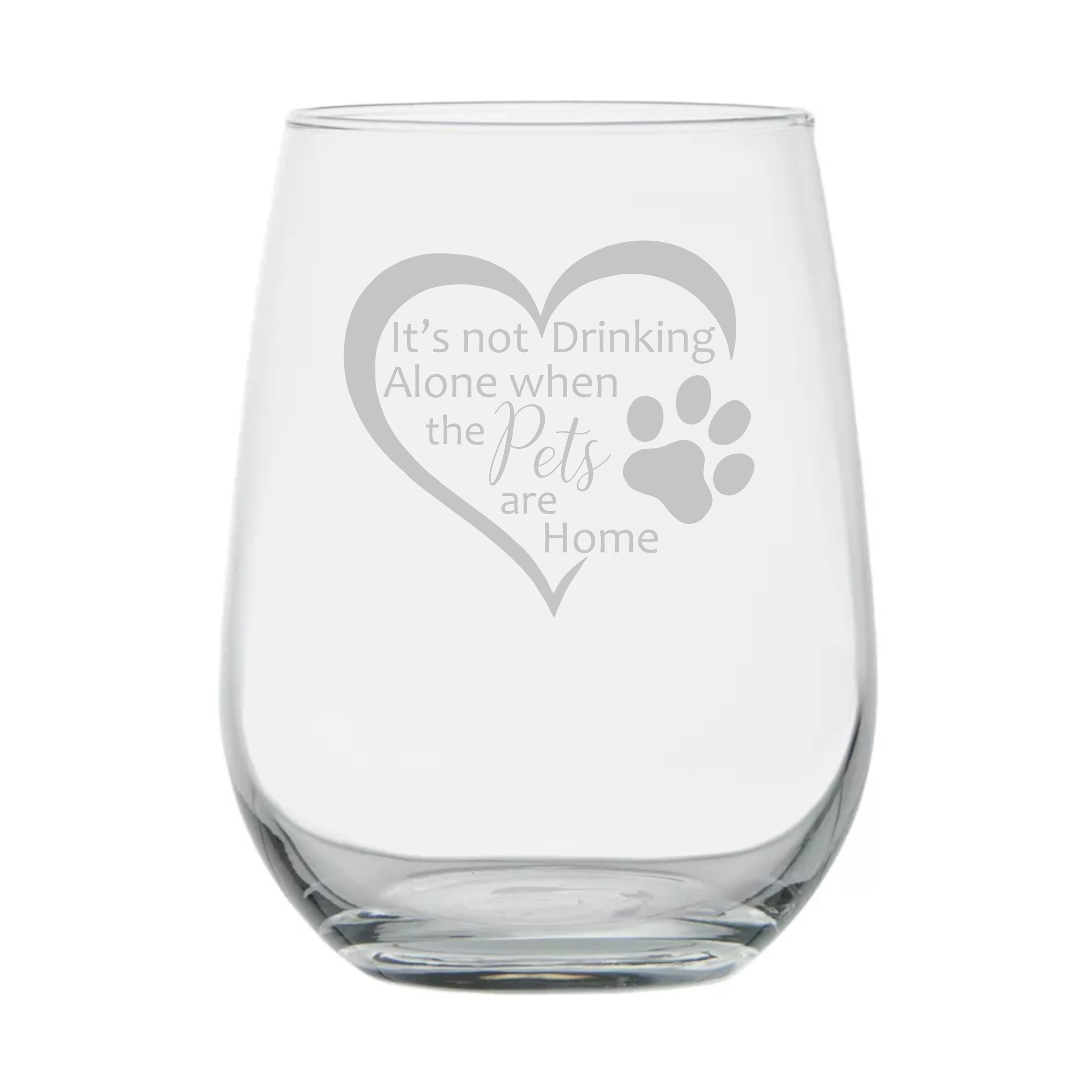 Animal Lover Gifts ★ It's Not Drinking Alone when the Pets are Home ★ 17 oz Dishwasher Safe ★ Wine Gifts ★ Animal Rescue ★ Gift for Women ★ Mom ★ Birthday Glass ★ Funny ★ Couples Anniversary