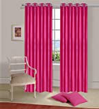 Home Elite 2 Piece Eyelet Solid Polyester Door Curtain - 7ft, Pink