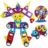Suneline 子供おもちゃ 積み木 モデルDIY 109ピースセット ケース付き 創造力育てる 磁石 想像力 知育玩具パワークリックス