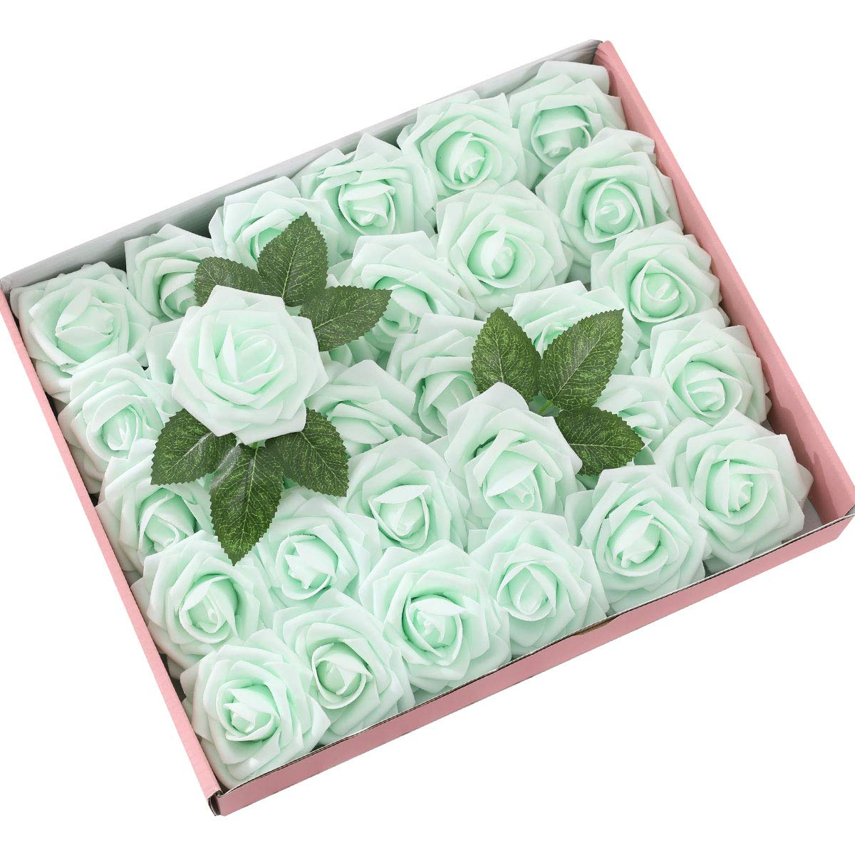 DerBlue 60pcs Artificial Roses Flowers Real Looking Fake Roses Artificial Foam Roses Decoration DIY for Wedding Bouquets,Arrangements Party Baby Shower Home Decorations-with Green Leaves(Blue)