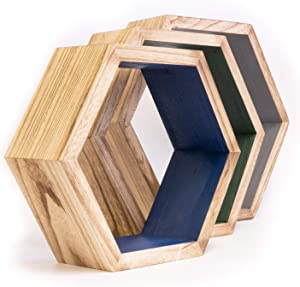 Hexagon Shelves Set of three in on-trend colors | Honeycomb Shelves perfect housewarming gift | Geometric Shelf | Floating shelves for Bedroom or bathroom decor | Floating Hexagon shelves for wall