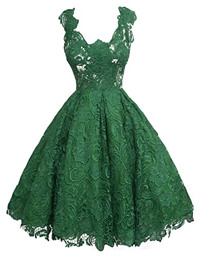 Fanhao Women's Deep V-neck Hollow out Lace Evening Gown Short Bridesmaids Dress