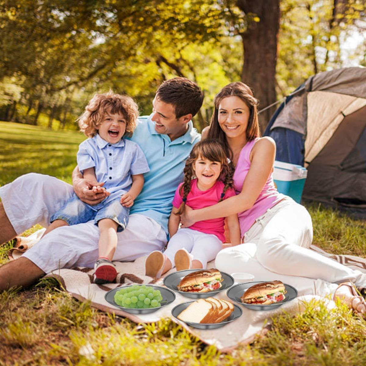 22cm Bisgear 6 St/ück Edelstahl Teller Braten Abendessen Campingteller Campinggeschirr