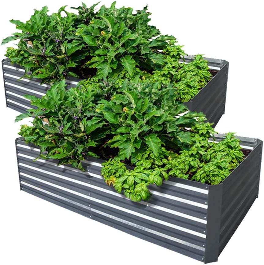 Galvanized Steel Raised Garden Bed Kit Extra Height Elevated Planter Box Steel Large Vegetable Flower Bed Kit (3.3 x 6.6 x 1.6 Ft, Zin-2 Pack)