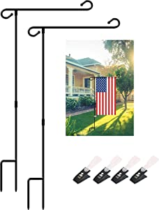 """Tektalk Garden Flag Stand Premium Garden Flag Pole Banner Flagpole Black Wrought Iron Yard Flag Pole with 4 Anti-Wind Clips Without Flag Holds Flags up to 12.5"""" in Width for Outdoor Garden Lawn-2 Pack"""