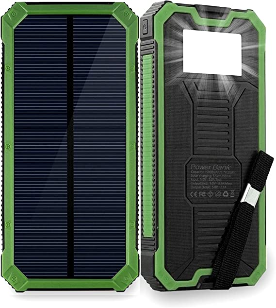 Amazon.com: Friengood Cargador Solar Portátil 15000mAh Banco ...