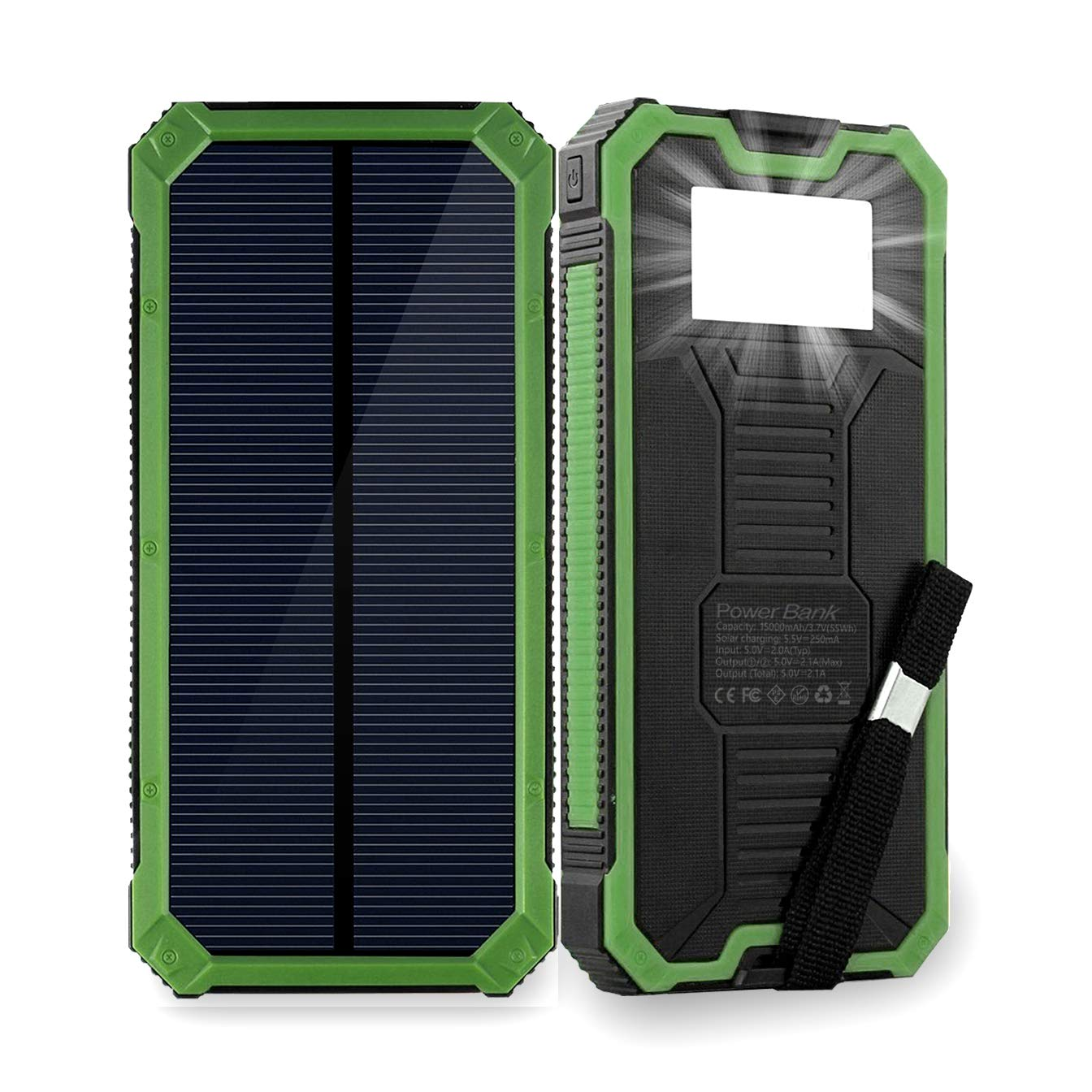 best service 6a6e0 e2dda Solar Phone Charger Friengood 15000mAh Portable Solar Power Bank with Dual  USB Ports, Waterproof Solar Battery Charger with 6 LED Flashlight Light for  ...