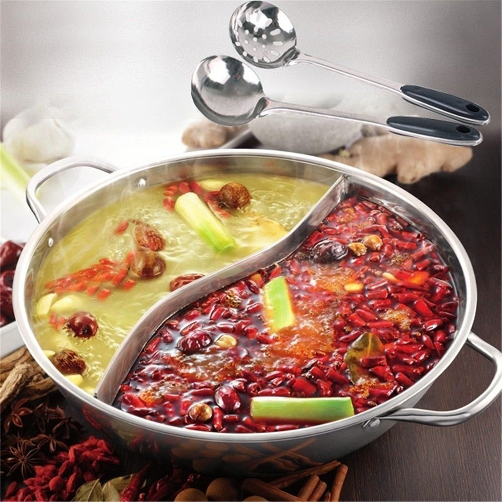 Fangfang 28cm Stainless Steel Shabu Shabu Dual Sided Hot Pot With Divider