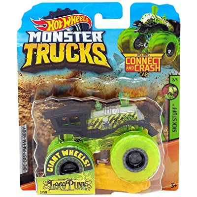 Hot Wheels 2020 Monster Trucks Sick Stuff 2/5 Loco Punk with Connect and Crash Car 1:64 Scale: Toys & Games
