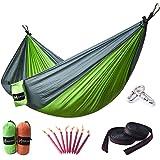 HUKOER Amaca da Campeggio - amaca doppia portatile in nylon resistente con cinghe e moschettoni premium- resiste fino a 250Kg per viaggiare, fare escursionismo, arrampicare e dormire all'aperto