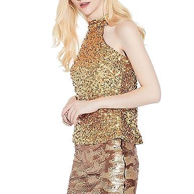 Novia s Choice Women Shiny Sequin Halter Neck Tank Top Glitter Camisole  Club T-Shirt Blouse