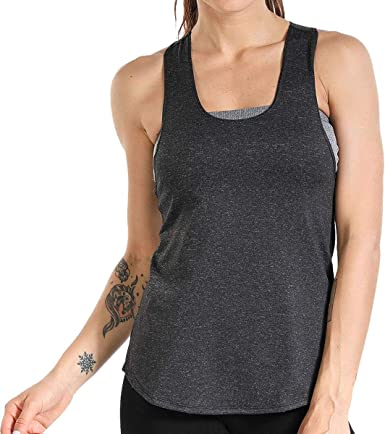 Grey, S LIERKISS Athletic Women Tank Tops Loose Fit Activewear Workout Clothes Sports Racer Back Cotton Shirts