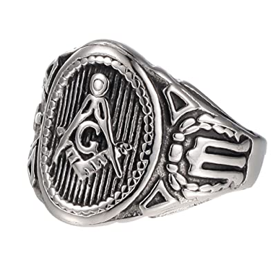 Vintage Masonic Ring Freemason Symbol Member Silver/Gold Stainless Steel  Punk Mason Jewelry Band