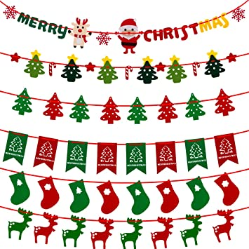 biubee christmas decoration banners 6 set 63 pcschristmas flags christmas trees - Decorative Christmas Flags
